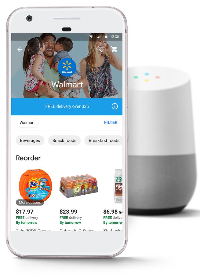 Google Express mobile app with a Google Home smart speaker