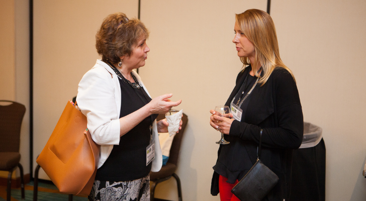 Marilyn Mills of Hannaford Supermarkets chats with Lisa Grudzielanek of Metcalfe's Markets