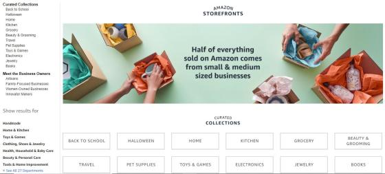 Amazon Introduces Storefronts for Small Businesses