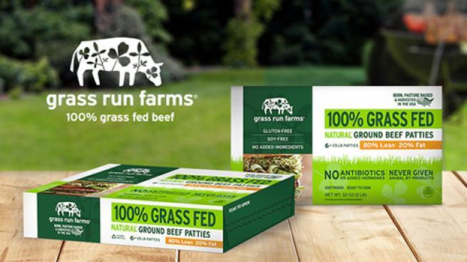 Grass Run Farms 100% Grass Fed Frozen Natural Ground Beef Patties
